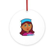 Drummer Girl Head Ornament (Round)