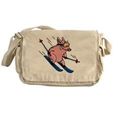 skiing pig Messenger Bag