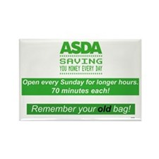 ASDA OPENING HOURS - OLD BAGS Rectangle Magnet
