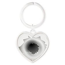 Bullet Hole Heart Keychain