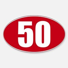 50 miles red oval sticker decal Decal