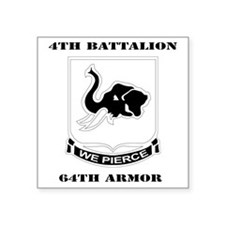 "DUI - 4th Bn 64th Armor wit Square Sticker 3"" x 3"""