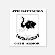"""DUI - 4th Bn 64th Armor wit Square Sticker 3"""" x 3"""""""