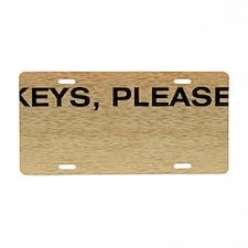 Wood Grain Keys Please Aluminum License Plate