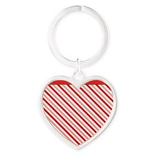 Candy Cane Heart Keychain