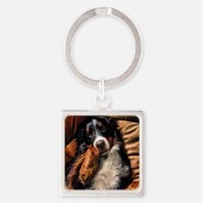 Berner Posing on Couch Square Keychain