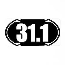 31.1 50k oval black sticker Aluminum License Plate