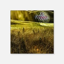 """Golf ball on the green Square Sticker 3"""" x 3"""""""