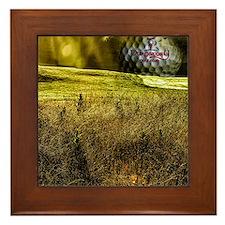 Golf ball on the green Framed Tile