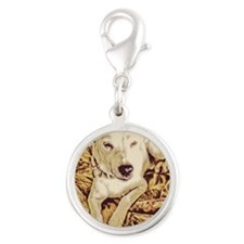 Jack Russell Resting Silver Round Charm
