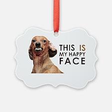 Happy Face Dachshund Ornament