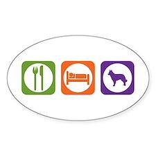 Eat Sleep Mudi Oval Decal