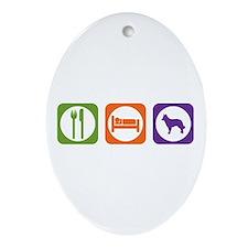 Eat Sleep Mudi Oval Ornament