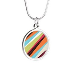 Funky Pattern Silver Round Necklace