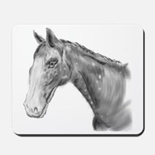 Black and White Horse Print Mousepad