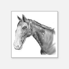 "Black and White Horse Print Square Sticker 3"" x 3"""