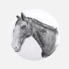 "Black and White Horse Print 3.5"" Button"