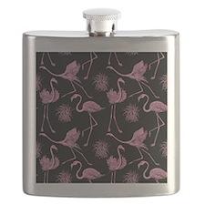 Flamingos on Black Flask