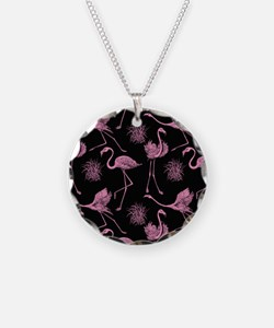 Flamingos on Black Necklace