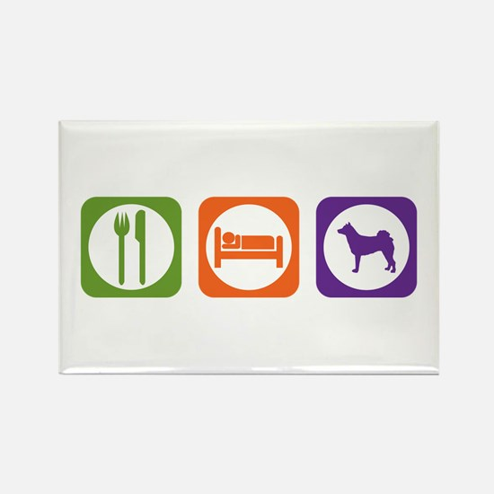 Eat Sleep Norrbottenspets Rectangle Magnet (100 pa