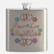 Peace Love Ragdoll Cats Flask