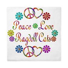 Peace Love Ragdoll Cats Queen Duvet