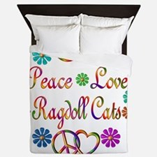 Peace Love Ragdoll Cats Queen Duvet