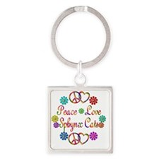 Peace Love Sphynx Cats Square Keychain