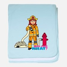 Firefighter Woman baby blanket