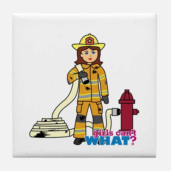 Firefighter Woman Tile Coaster
