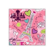 "Love in Paris Square Sticker 3"" x 3"""