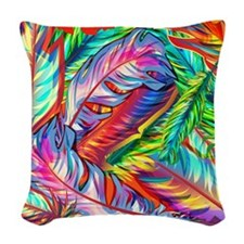 Bright Feathers Woven Throw Pillow