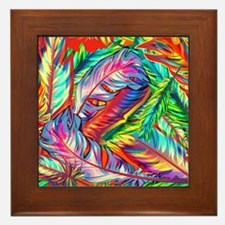 Bright Feathers Framed Tile
