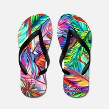 Bright Feathers Flip Flops