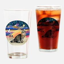 XmasAngel-Bobtail Cat Drinking Glass