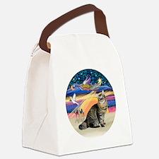 XmasAngel-Bobtail Cat Canvas Lunch Bag