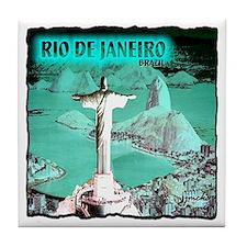 Rio de Janeiro brazil art illustratio Tile Coaster