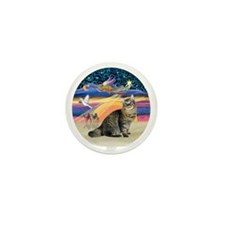 XmasAngel-Bobtail Cat Mini Button
