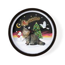 NightFlight-Bobtail Cat Wall Clock