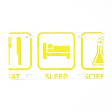 eatSleepScience1E Aluminum License Plate