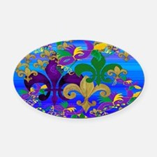Mardi Gras Psycadelic Oval Car Magnet