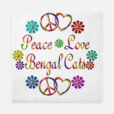 Peace Love Bengal Cats Queen Duvet