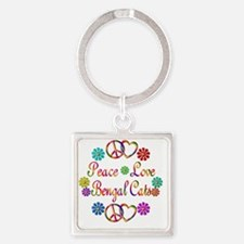 Peace Love Bengal Cats Square Keychain