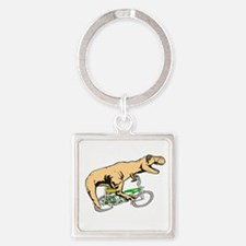 T Rex goes old school Square Keychain