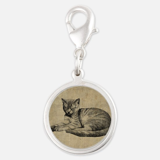 Cute Vintage Cat Silver Round Charm