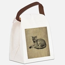 Cute Vintage Cat Canvas Lunch Bag
