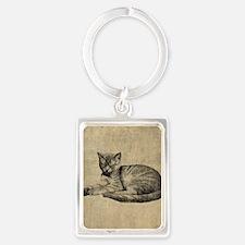 Cute Vintage Cat Portrait Keychain