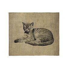 Cute Vintage Cat Throw Blanket