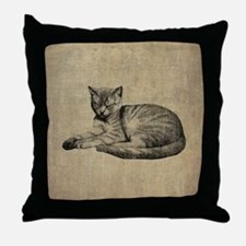 Cute Vintage Cat Throw Pillow