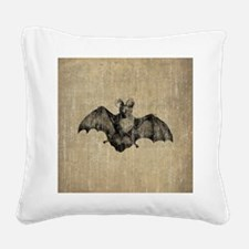 Vintage Bat Illustration Square Canvas Pillow